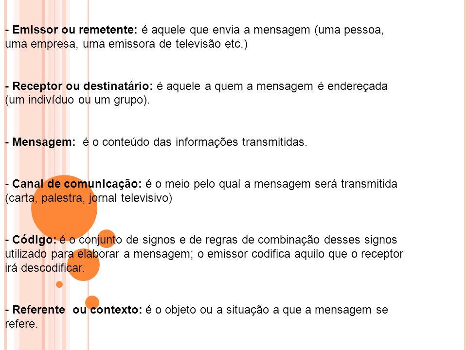 - Emissor ou remetente: é aquele que envia a mensagem (uma pessoa, uma empresa, uma emissora de televisão etc.)