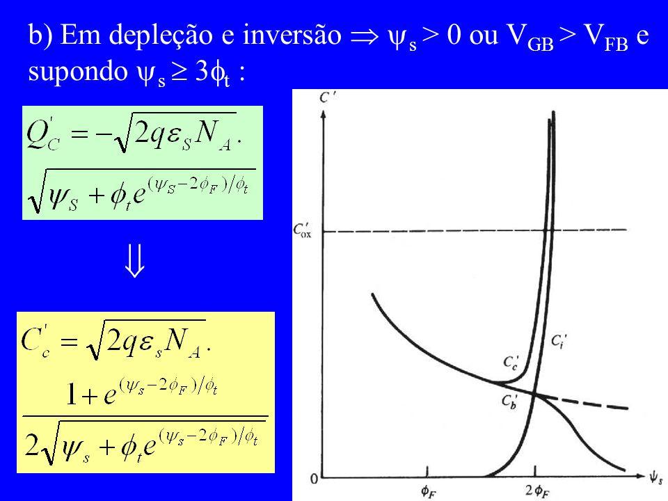  b) Em depleção e inversão  s > 0 ou VGB > VFB e