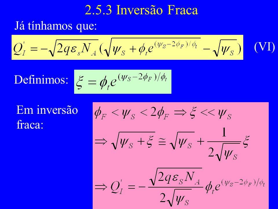 2.5.3 Inversão Fraca Já tínhamos que: (VI) Definimos: Em inversão