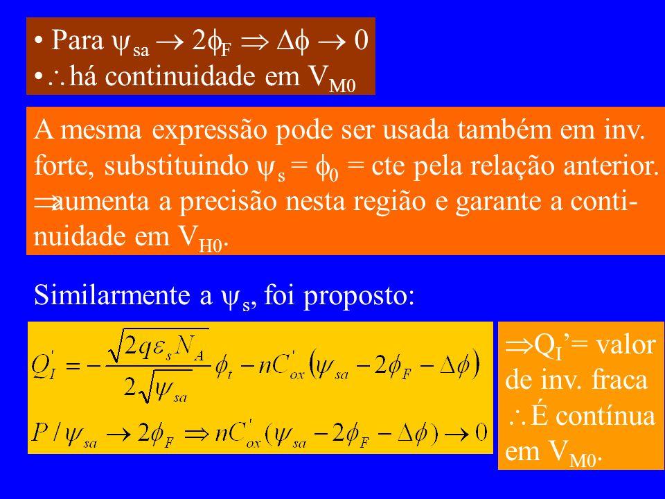 Para sa  2F    0 há continuidade em VM0. A mesma expressão pode ser usada também em inv.