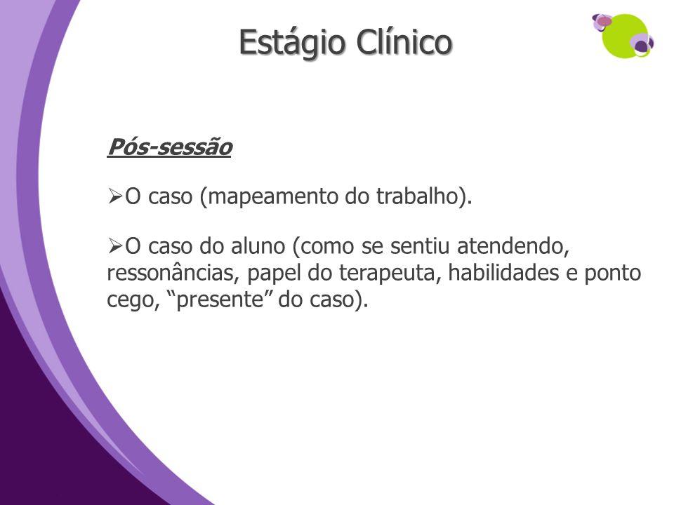 Estágio Clínico Pós-sessão O caso (mapeamento do trabalho).