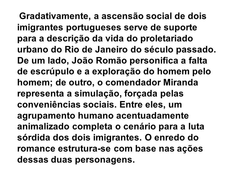 Gradativamente, a ascensão social de dois imigrantes portugueses serve de suporte para a descrição da vida do proletariado urbano do Rio de Janeiro do século passado.