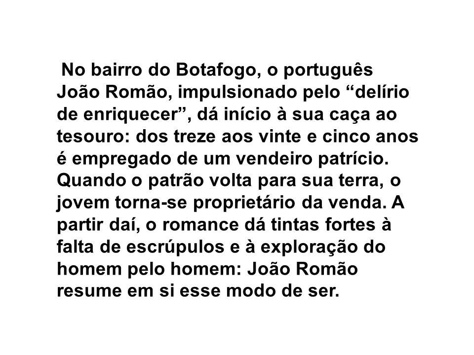 No bairro do Botafogo, o português João Romão, impulsionado pelo delírio de enriquecer , dá início à sua caça ao tesouro: dos treze aos vinte e cinco anos é empregado de um vendeiro patrício.