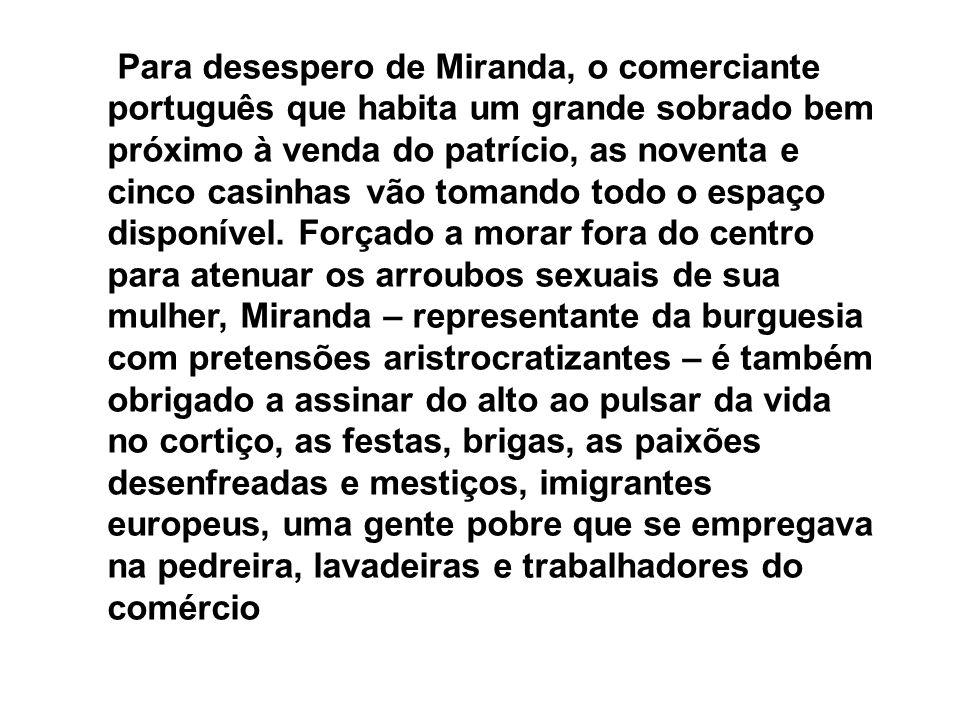 Para desespero de Miranda, o comerciante português que habita um grande sobrado bem próximo à venda do patrício, as noventa e cinco casinhas vão tomando todo o espaço disponível.