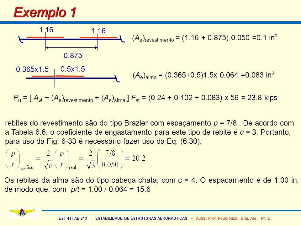Exemplo 1 1.16 1.16 (Ae)revestimento = (1.16 + 0.875) 0.050 =0.1 in2