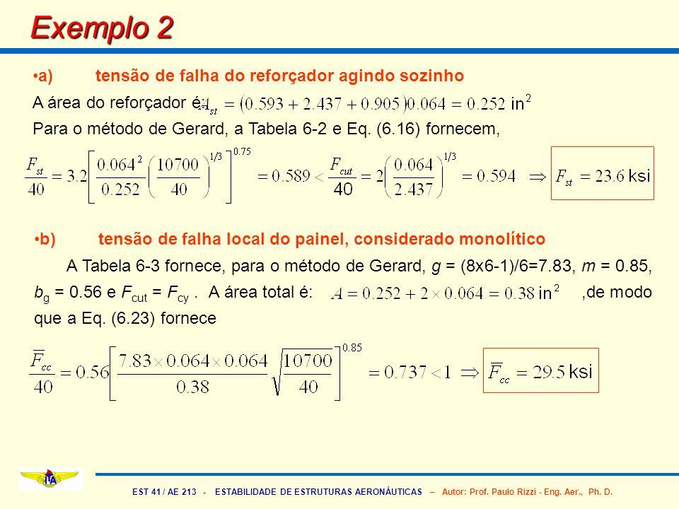 Exemplo 2 a) tensão de falha do reforçador agindo sozinho