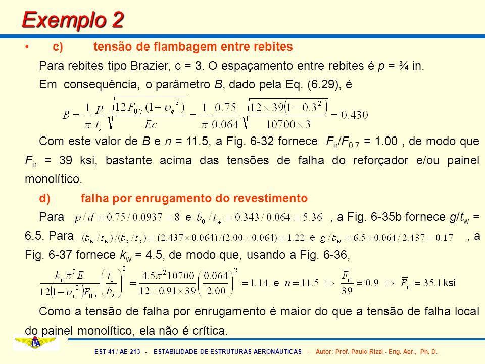 Exemplo 2 c) tensão de flambagem entre rebites