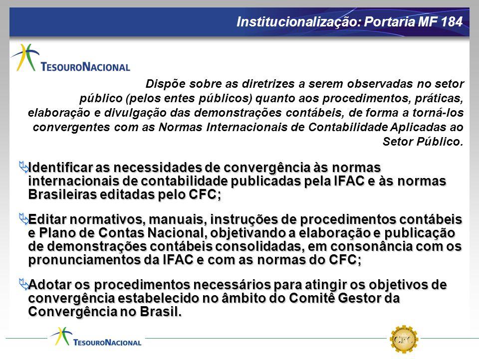 Institucionalização: Portaria MF 184