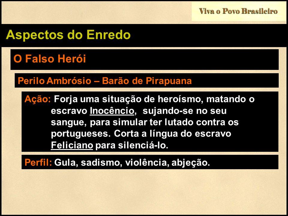 Aspectos do Enredo O Falso Herói Perilo Ambrósio – Barão de Pirapuana