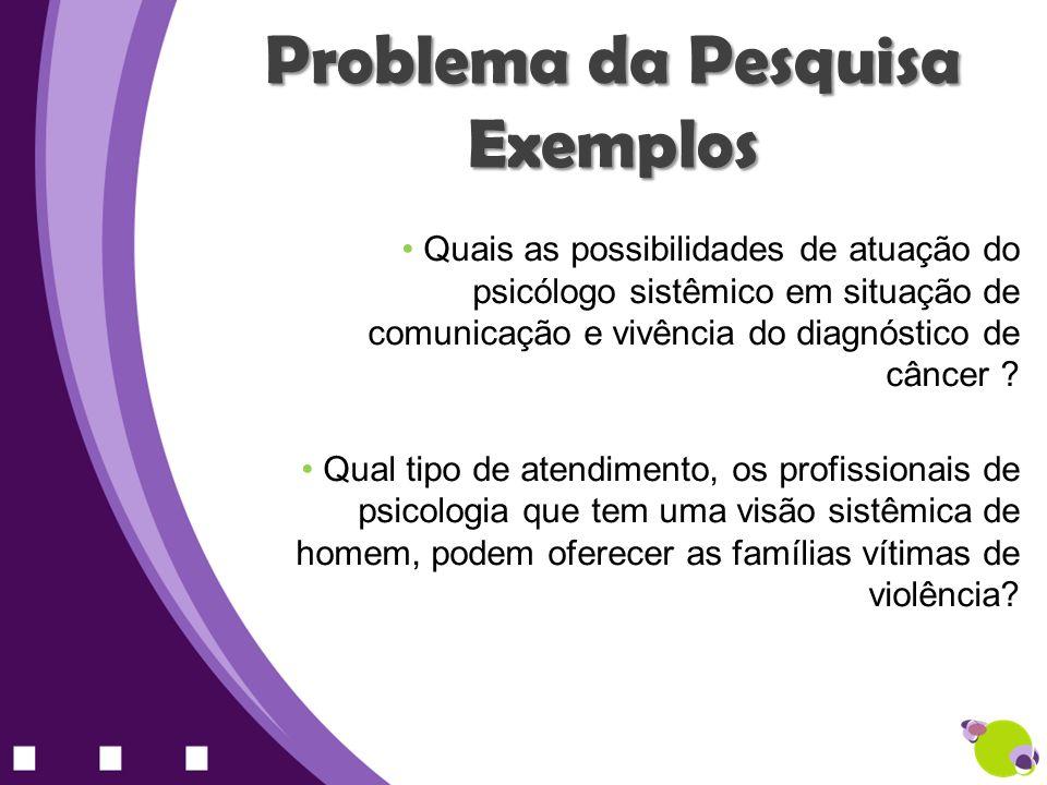 Problema da Pesquisa Exemplos