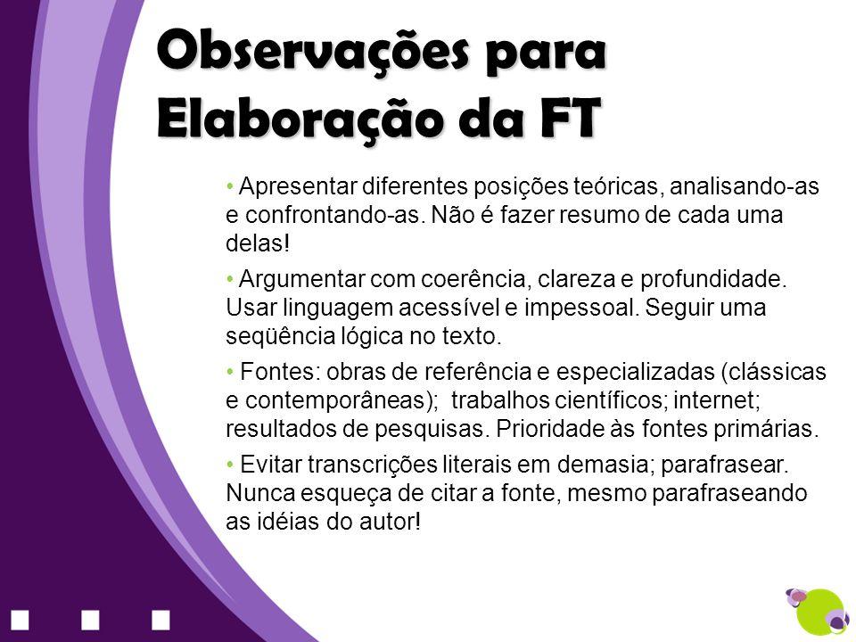Observações para Elaboração da FT