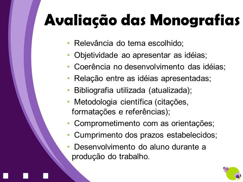 Avaliação das Monografias