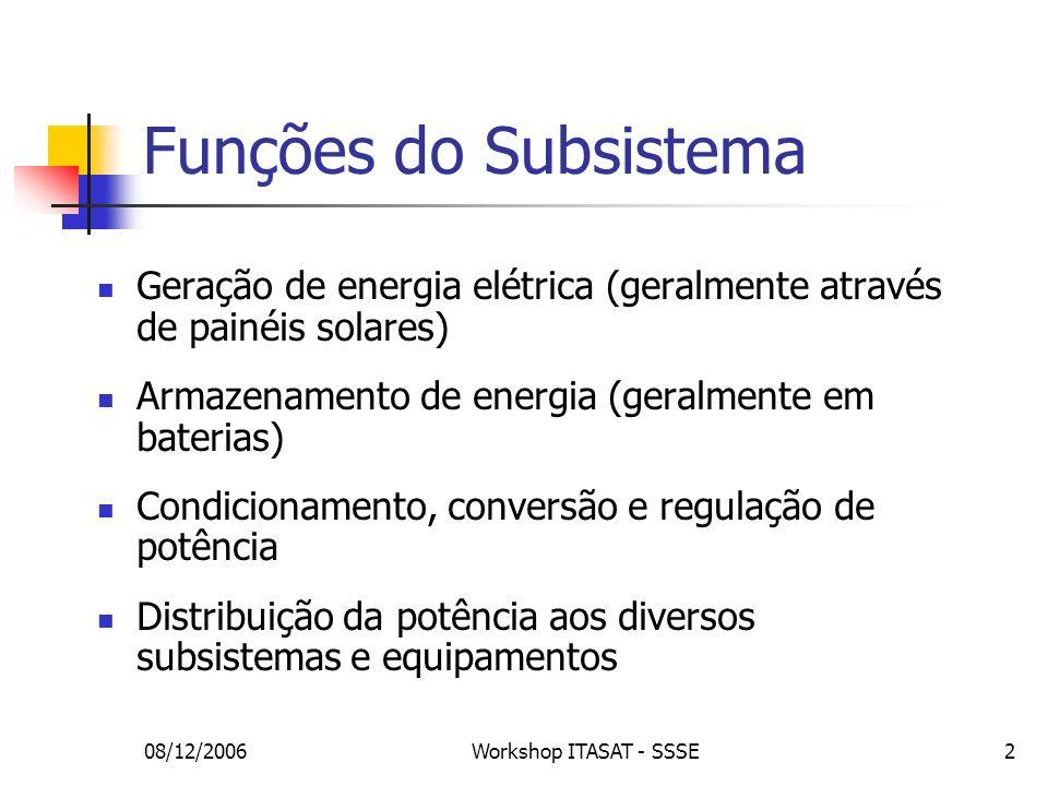 Funções do Subsistema Geração de energia elétrica (geralmente através de painéis solares) Armazenamento de energia (geralmente em baterias)