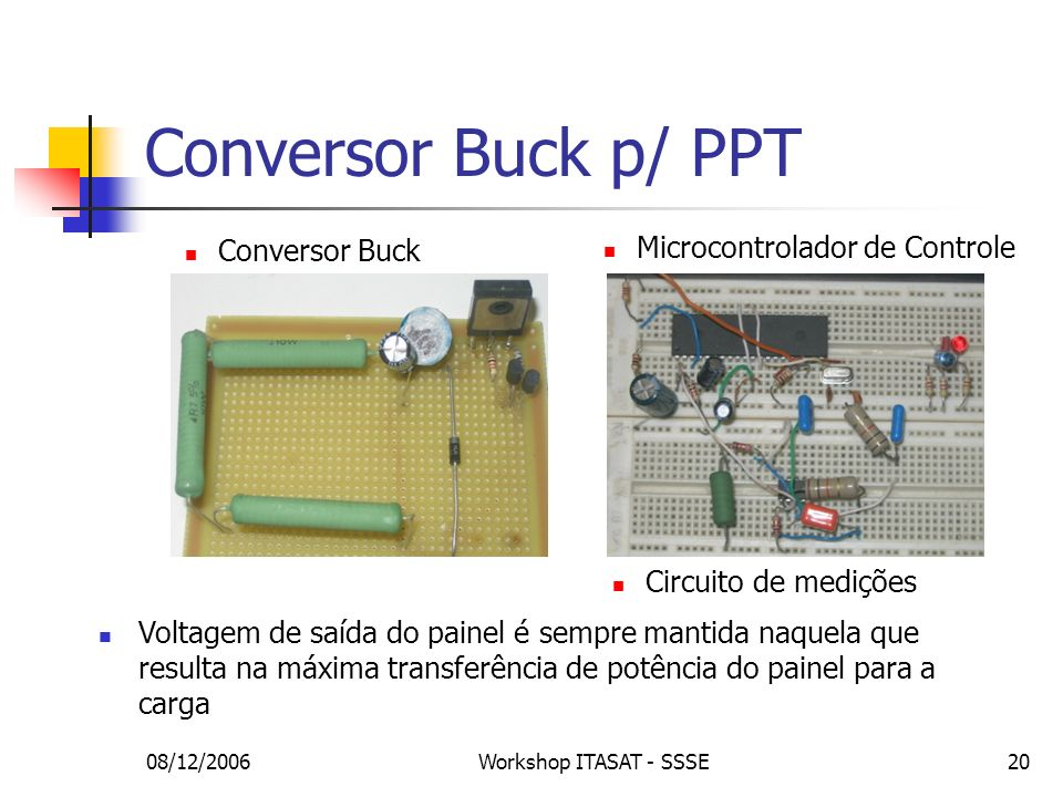 Conversor Buck p/ PPT Microcontrolador de Controle Conversor Buck