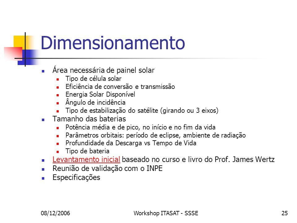 Dimensionamento Área necessária de painel solar Tamanho das baterias