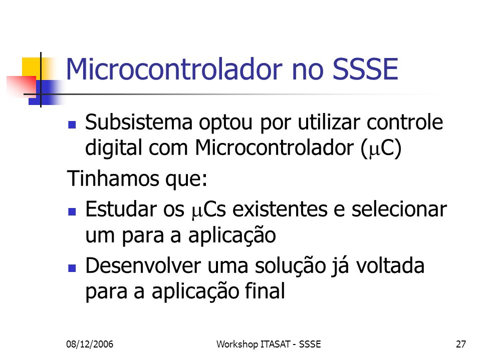Microcontrolador no SSSE