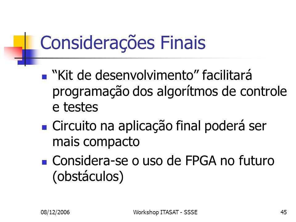 Considerações Finais Kit de desenvolvimento facilitará programação dos algorítmos de controle e testes.