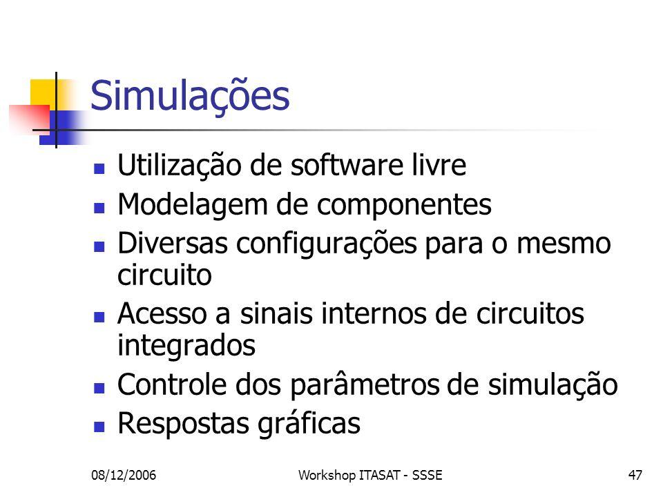 Simulações Utilização de software livre Modelagem de componentes