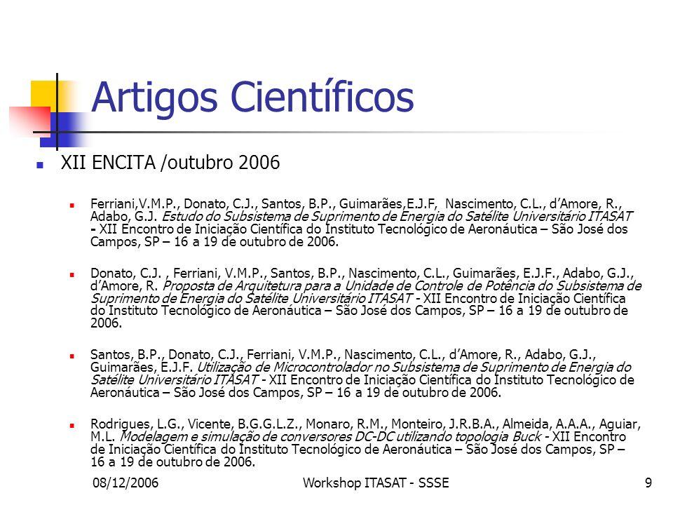 Artigos Científicos XII ENCITA /outubro 2006