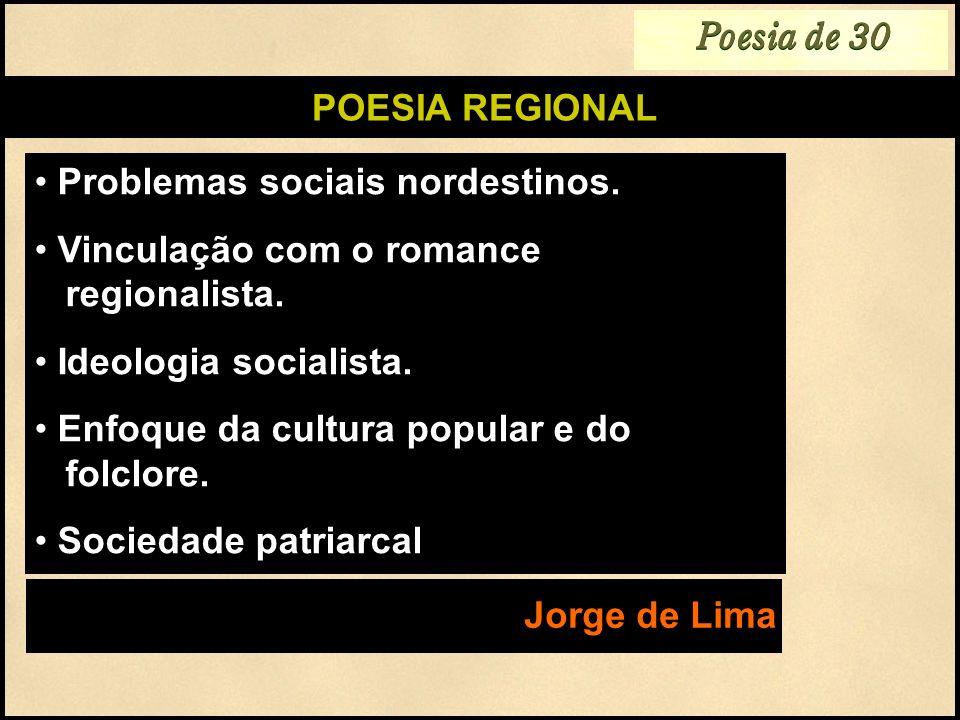 Poesia de 30POESIA REGIONAL. Problemas sociais nordestinos. Vinculação com o romance regionalista.
