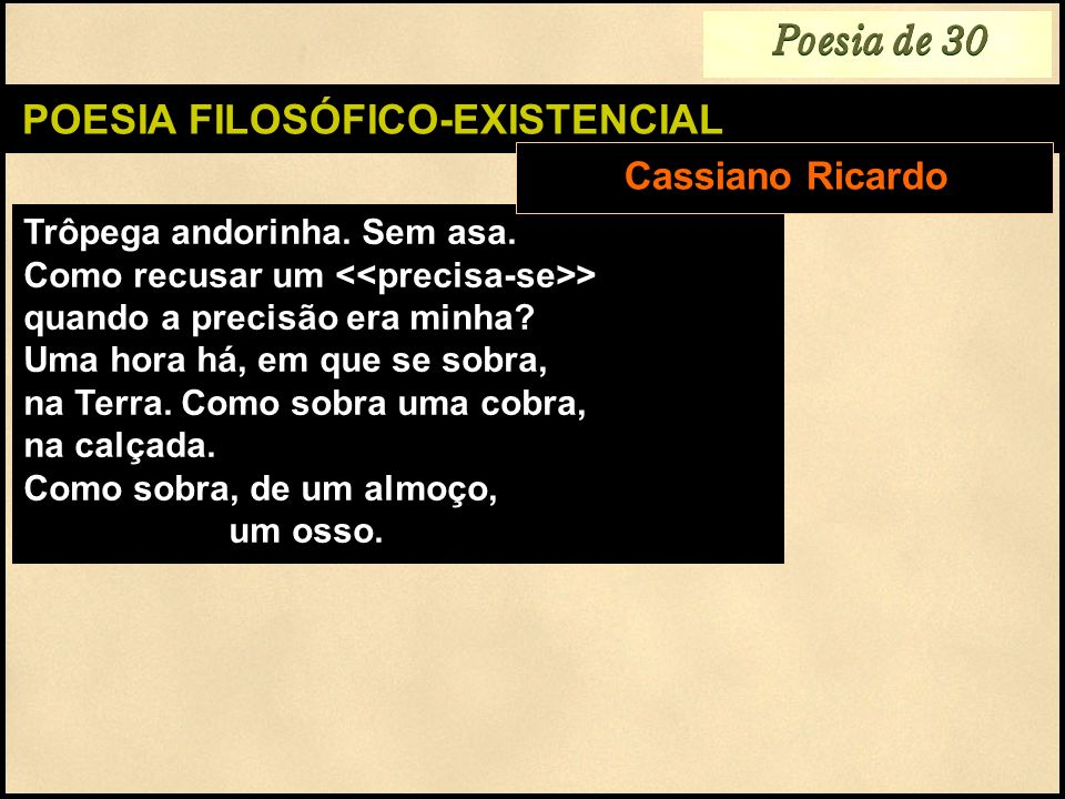 POESIA FILOSÓFICO-EXISTENCIAL
