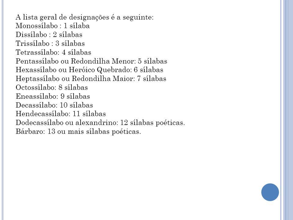 A lista geral de designações é a seguinte: