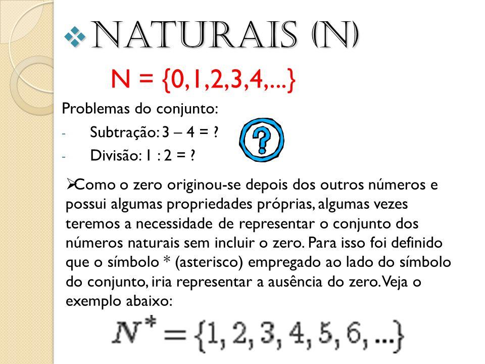 Naturais (N) N = {0,1,2,3,4,...} Problemas do conjunto: