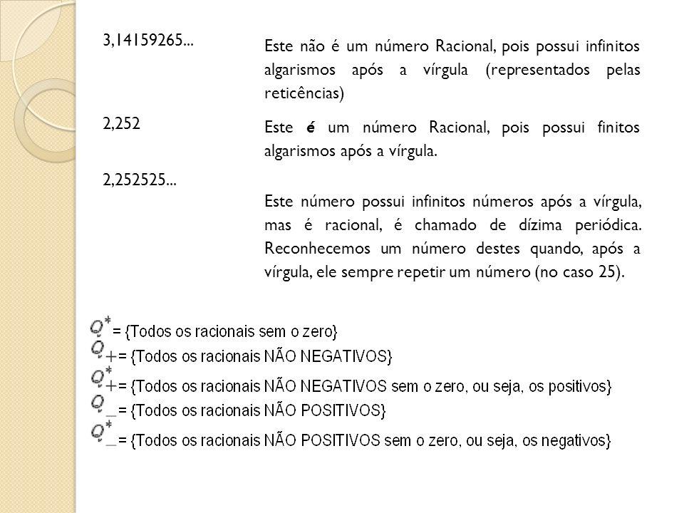 3,14159265... Este não é um número Racional, pois possui infinitos algarismos após a vírgula (representados pelas reticências)