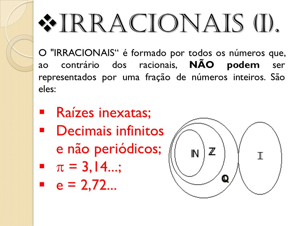 Irracionais (I). Raízes inexatas; Decimais infinitos e não periódicos;