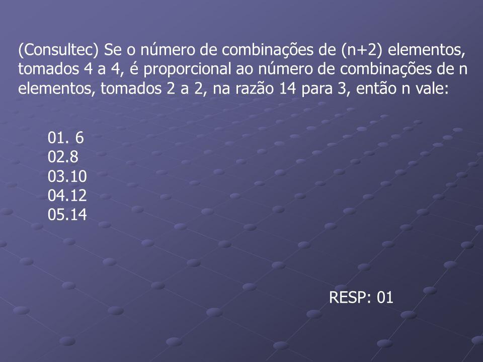 (Consultec) Se o número de combinações de (n+2) elementos,