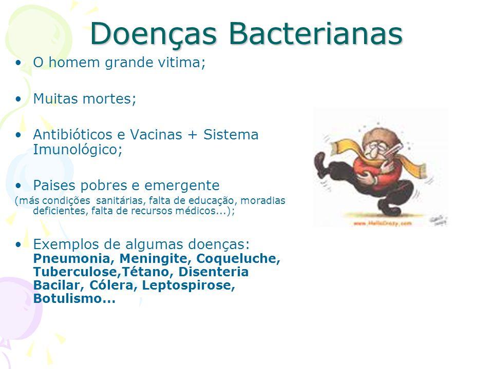 Doenças Bacterianas O homem grande vitima; Muitas mortes;