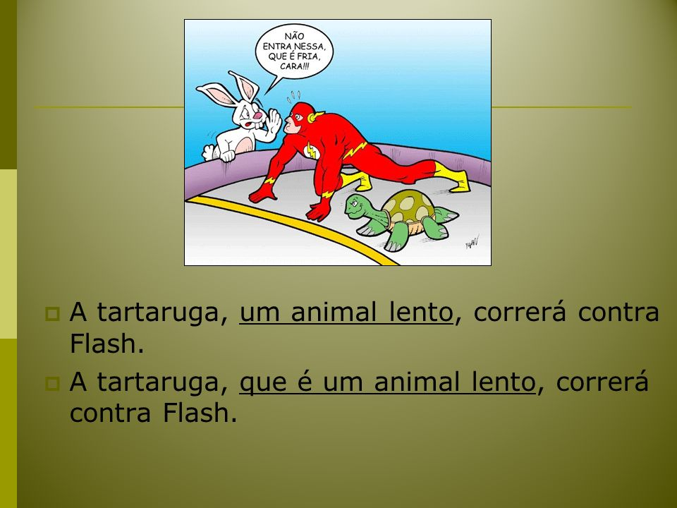 A tartaruga, um animal lento, correrá contra Flash.