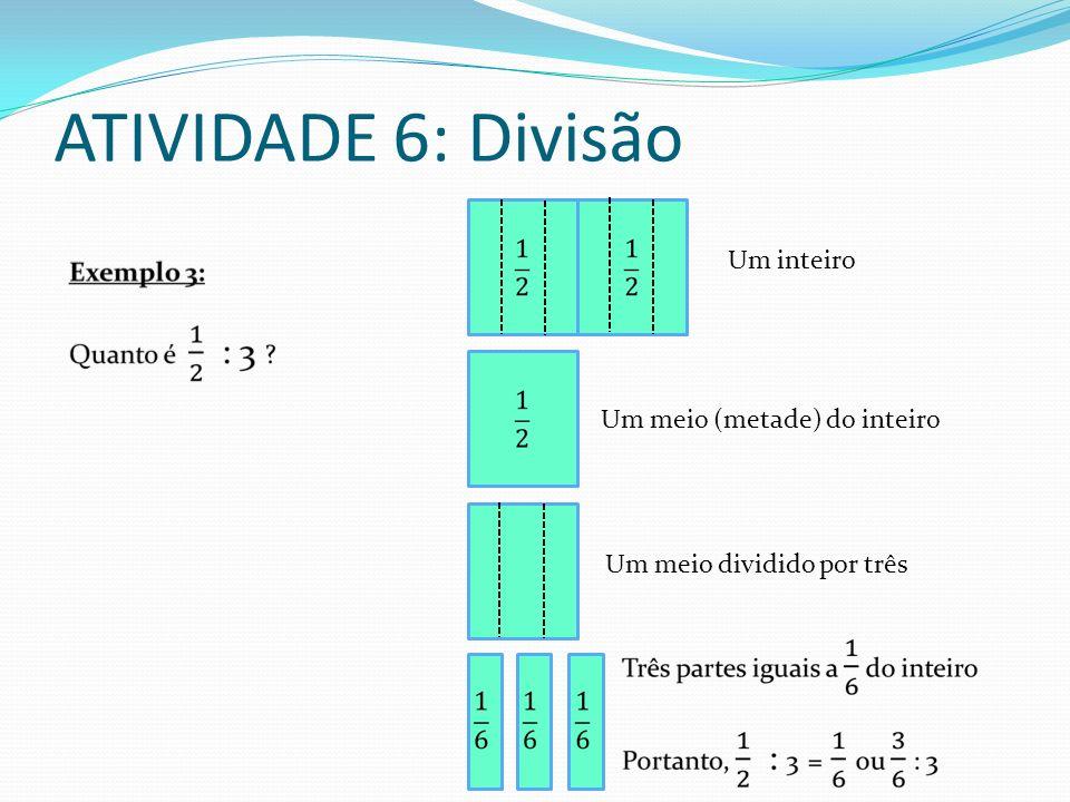 ATIVIDADE 6: Divisão Um inteiro Um meio (metade) do inteiro