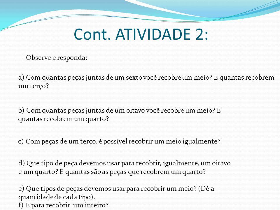 Cont. ATIVIDADE 2: Observe e responda: