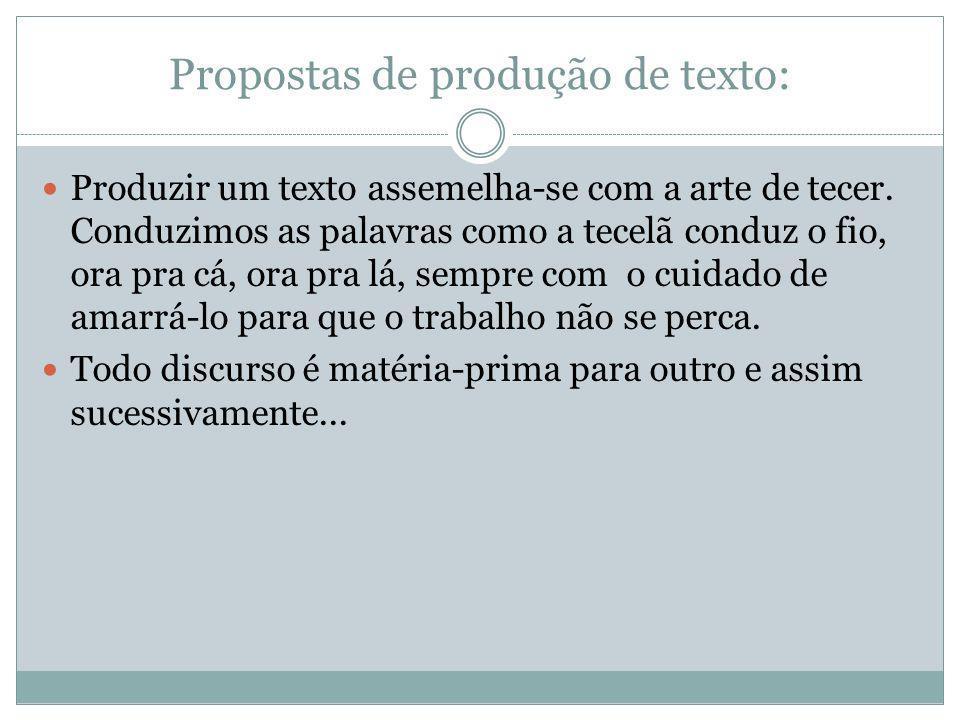 Propostas de produção de texto: