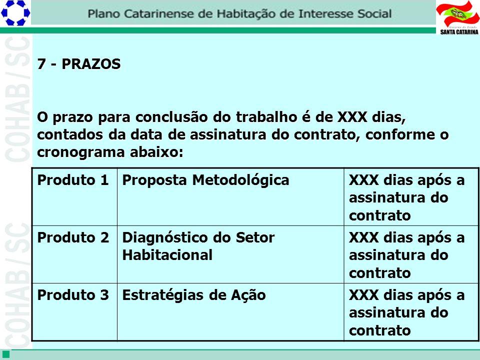 7 - PRAZOS O prazo para conclusão do trabalho é de XXX dias, contados da data de assinatura do contrato, conforme o cronograma abaixo: