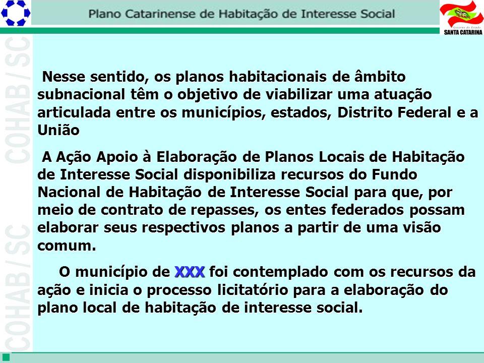 Nesse sentido, os planos habitacionais de âmbito subnacional têm o objetivo de viabilizar uma atuação articulada entre os municípios, estados, Distrito Federal e a União