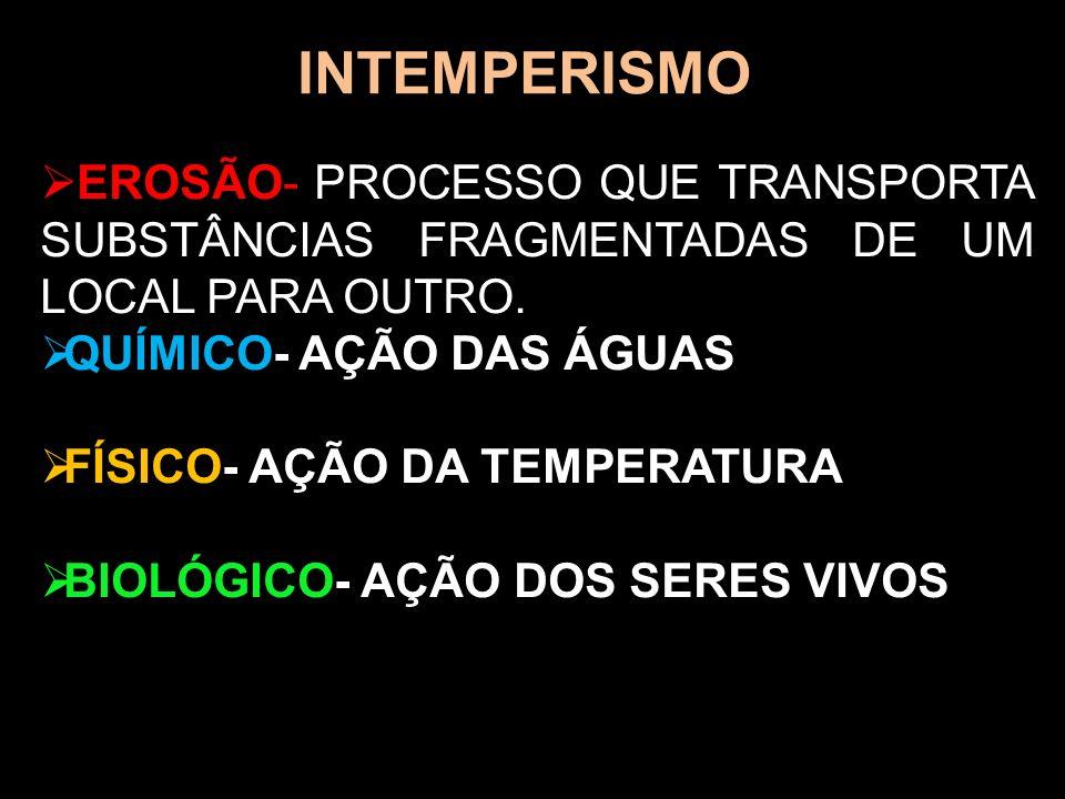 INTEMPERISMOEROSÃO- PROCESSO QUE TRANSPORTA SUBSTÂNCIAS FRAGMENTADAS DE UM LOCAL PARA OUTRO. QUÍMICO- AÇÃO DAS ÁGUAS.