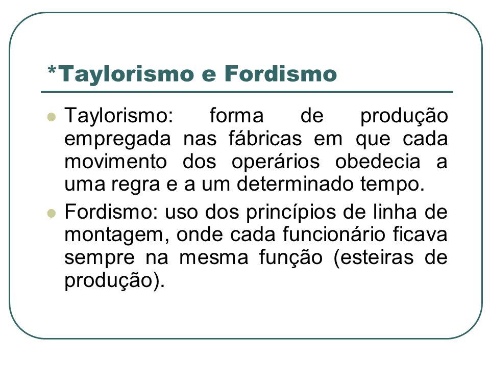 *Taylorismo e Fordismo