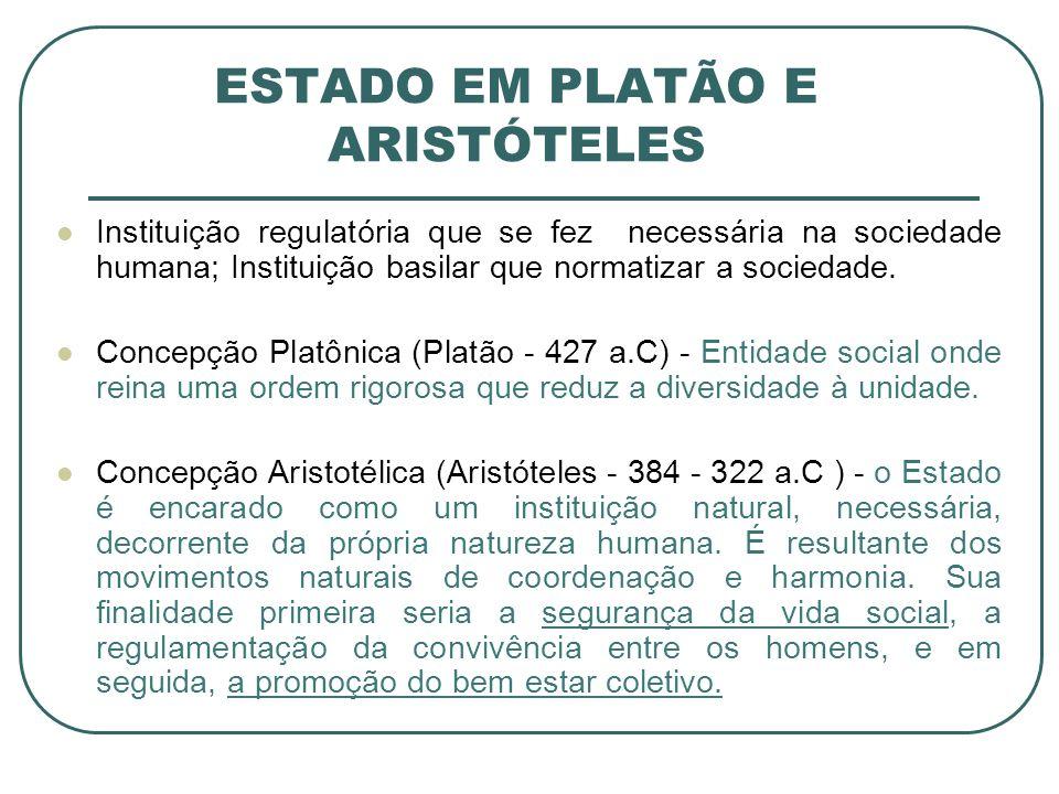 ESTADO EM PLATÃO E ARISTÓTELES