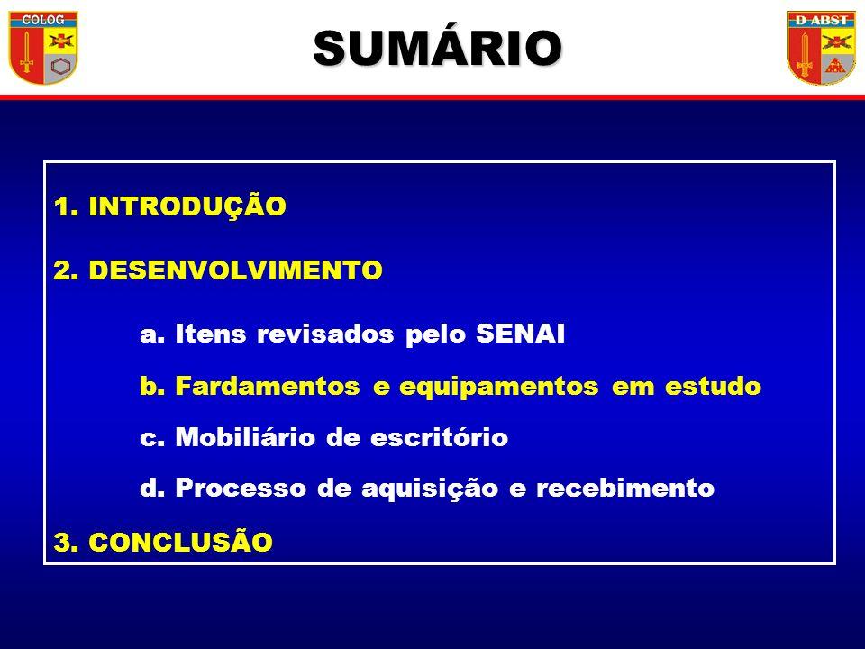 SUMÁRIO 1. INTRODUÇÃO 2. DESENVOLVIMENTO a. Itens revisados pelo SENAI