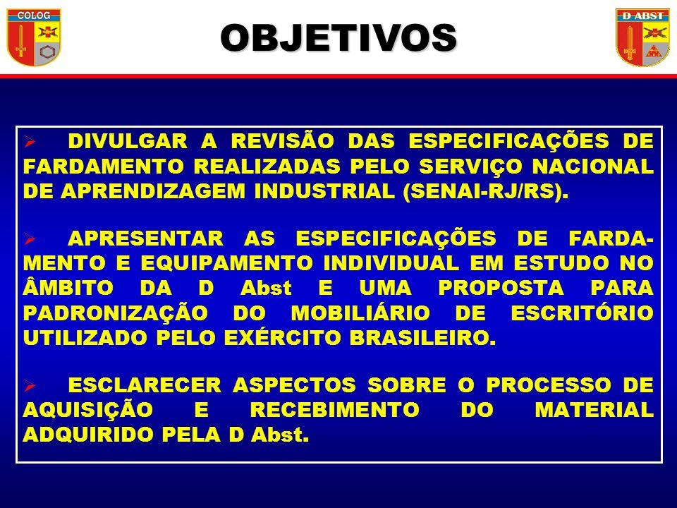 OBJETIVOS DIVULGAR A REVISÃO DAS ESPECIFICAÇÕES DE FARDAMENTO REALIZADAS PELO SERVIÇO NACIONAL DE APRENDIZAGEM INDUSTRIAL (SENAI-RJ/RS).