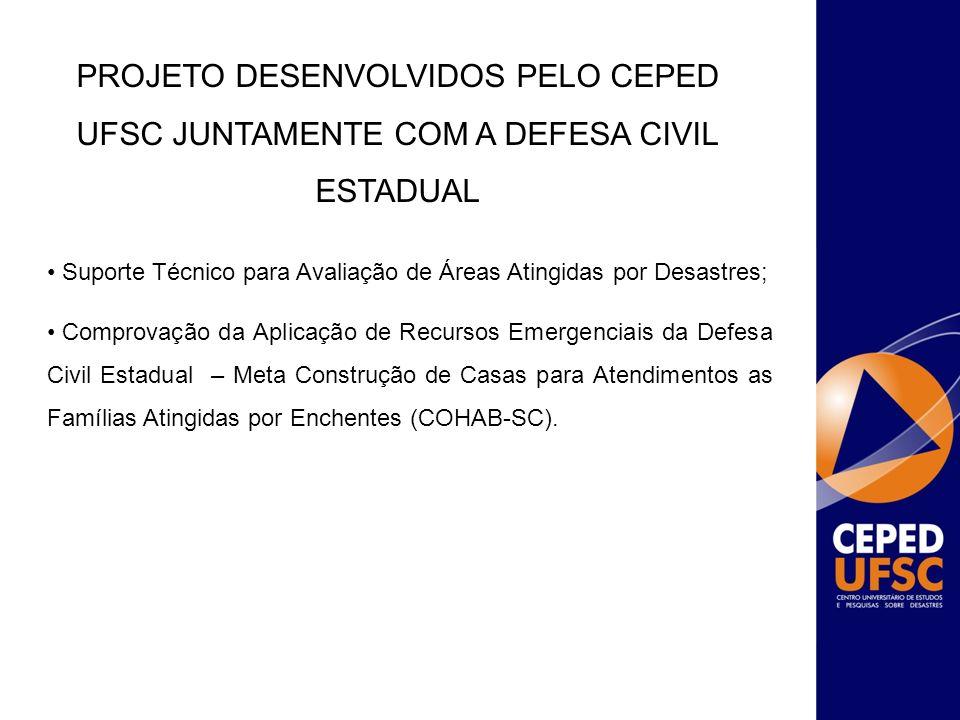 PROJETO DESENVOLVIDOS PELO ceped ufsc Juntamente COM a Defesa Civil Estadual