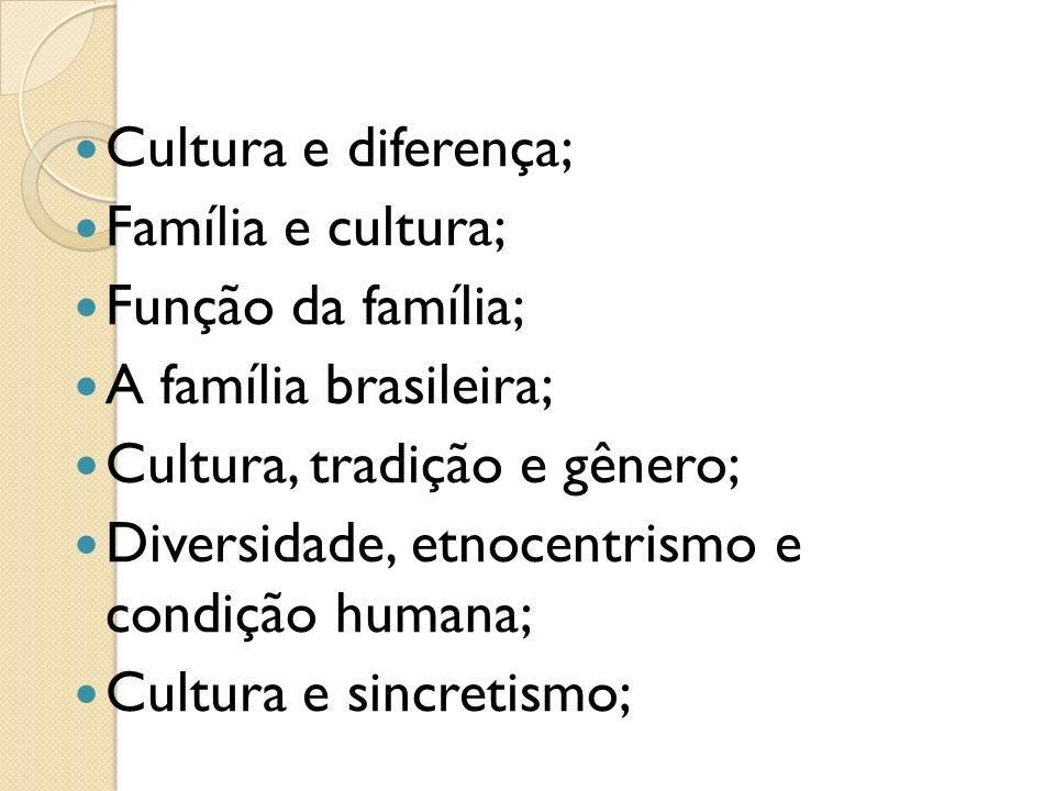 Cultura e diferença; Família e cultura; Função da família; A família brasileira; Cultura, tradição e gênero;