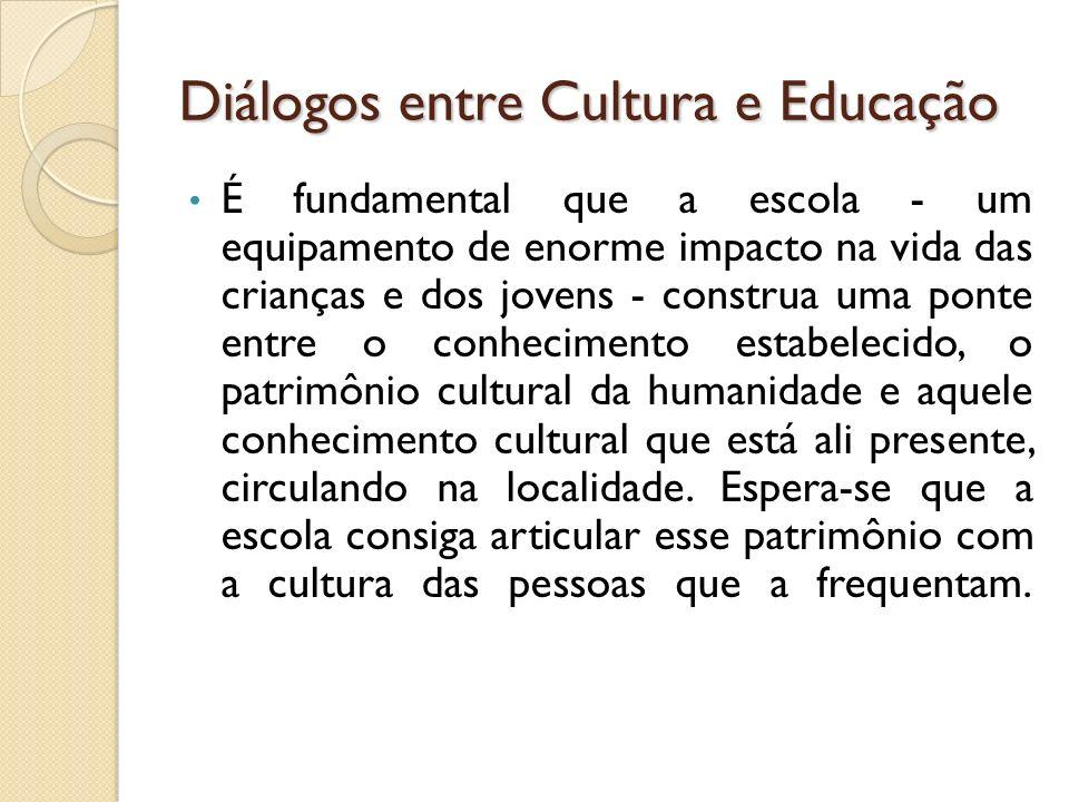 Diálogos entre Cultura e Educação