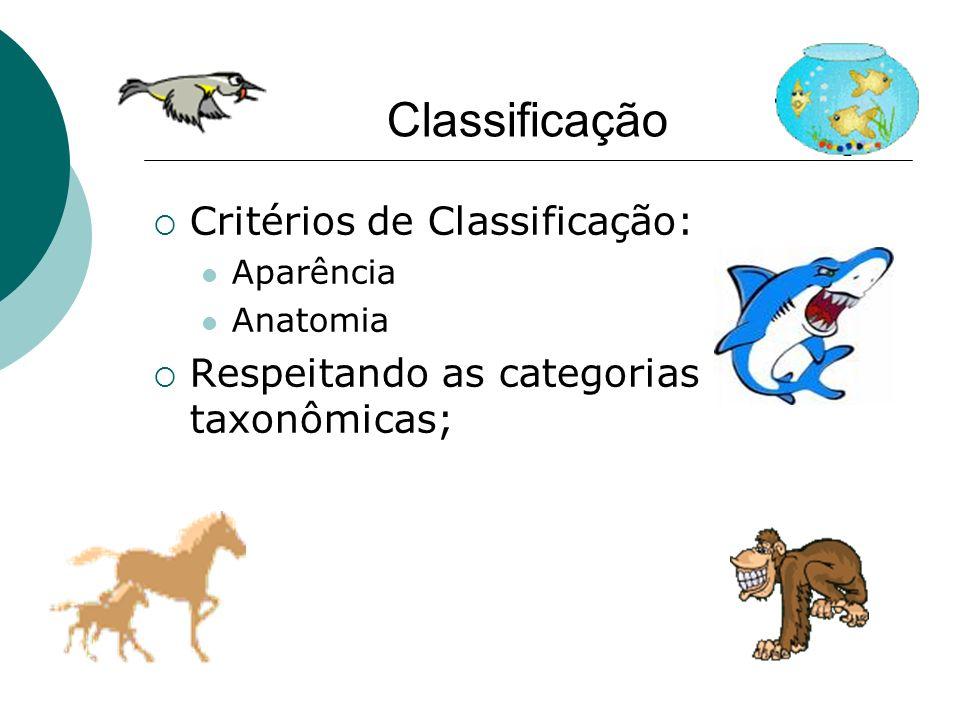 Classificação Critérios de Classificação: