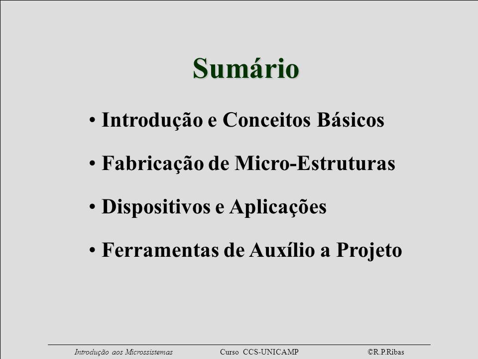 Sumário Introdução e Conceitos Básicos Fabricação de Micro-Estruturas