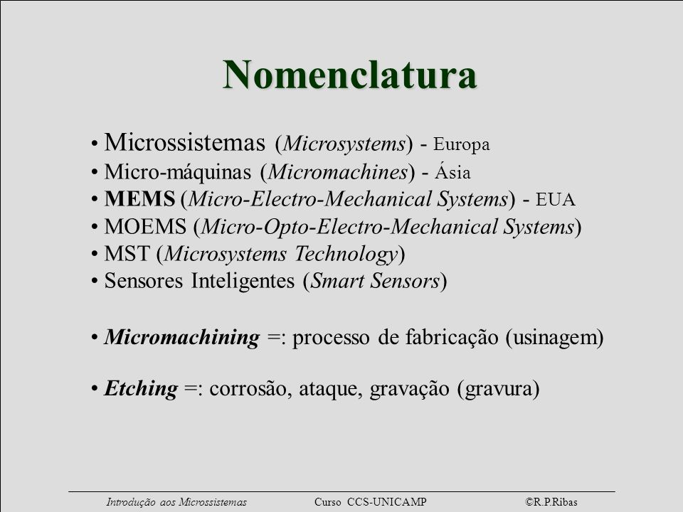 Nomenclatura Microssistemas (Microsystems) - Europa