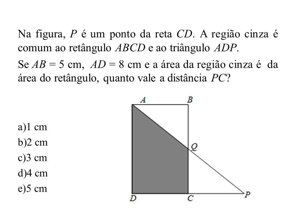 Na figura, P é um ponto da reta CD