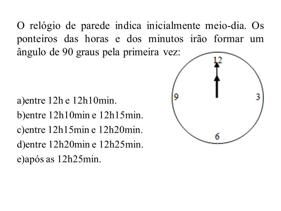 O relógio de parede indica inicialmente meio-dia